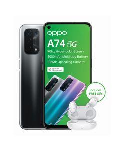 Oppo A74 5G Single Sim 128GB + Enco W11 TWS Earpods - Fluid Black