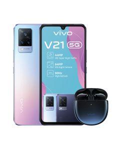 vivo V21 5G Single Sim 128GB + TWS Neo Earbuds in Sunset Dazzle sold by Technomobi