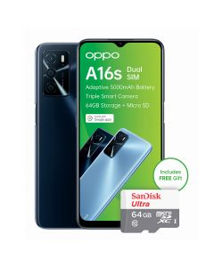 Oppo A16s Dual Sim 64GB with free 64GB SD Card in Crystal Black sold by Technomobi