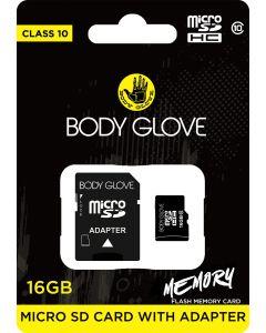 Body Glove Micro SD 16GB Class 10 Memory Card + SD Adapter
