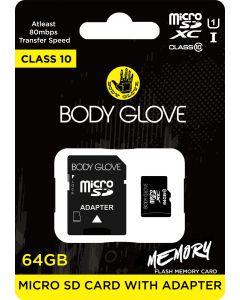 Body Glove Micro SD 64GB Class 10 Memory Card + SD Adapter