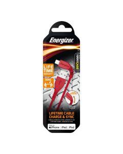 Energizer Apple Lightning Cable 1.2M - Red (Lifetime Warranty)