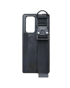 Design Skin - LG Wing Leather Buckle Strap With Card Holder Case - Black