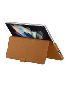 Samsung Z Fold3 5G Leather Flip Case in Brown sold by Technomobi