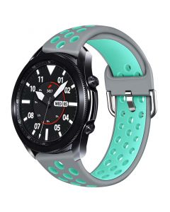Toni Silicone Buckle Watch Strap 20mm - Grey/Turquoise