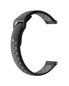 Toni Silicone Button Watch Strap 22mm - Black/Grey