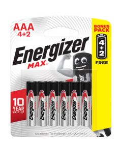 Energizer Max AAA Battery - 4 + 2 Pack