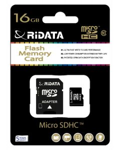 Ridata Micro SD 16GB Class 10 Memory Card & SD Adapter